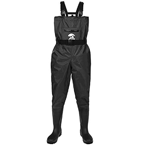 SaphiRose PONCHO Vadeador de Pesca Pantalones con Botas Impermeable para Hombre Mujer Waders Transpirables Negro Talla 46