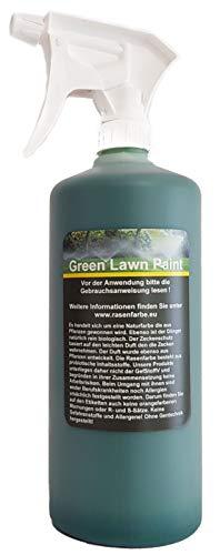 Green Lawn Paint Profi Rasenfarbe in 1 Liter Sprühflasche 1 Liter Rasenfarbe direkt aufsprühen. Zusätzlich Naturdünger und natürlichem Zeckenschutz. Versand aus Deutschland.