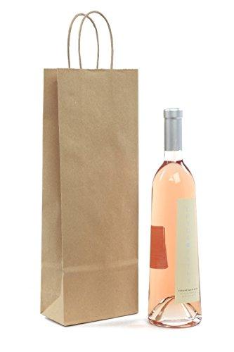 Weintragetüten Flaschenbeutel aus Kraftpapier Papierkordel Natur für 1 Flasche VE 25 Stück