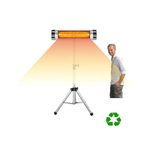 ALINILA Calefactor Portatil,Calefactor por Radiación Infrarrojo para Terraza,Soporte Telescópico Ajustable en Altura, Aplicable a Terrazas de Jardín Interiores y Exteriores (2500W)