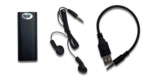 Shoppy Lab Mini Rec Pro Registratore Vocale 16Gb Audio Voice Recorder Spia Ambientale Lettore Mp3 Pen Drive Con Cuffie