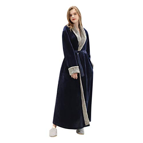 Dasongff Montana - Albornoz con capucha, coral, forro polar, bata, rizo, para mujer, hombre, sauna, largo, pijama