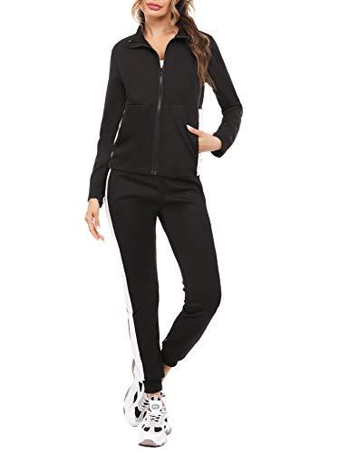 Akalnny Damen Freizeitanzug Sportanzug Jogginganzug Sportjacke Jacke mit Reißverschluss Sporthose Hose mit Tunnelzug(Schwarz + Weiß,M)