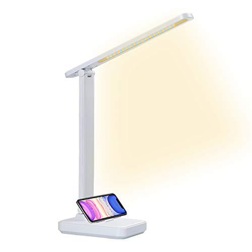 QueenDer Lámpara de Escritorio, Flexo LED Escritorio USB Protege a Ojos Recargable 2500mAh...