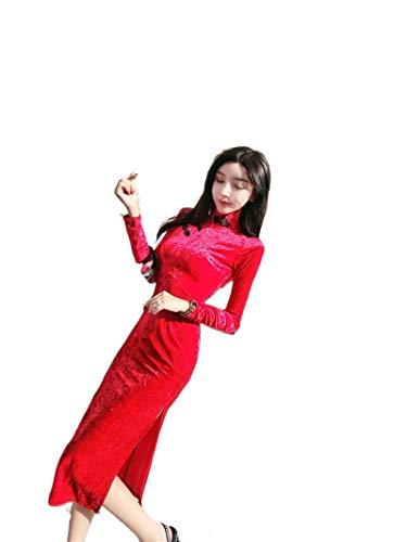 Qipao 2020 Mejorado Vestido Aristocrtico Temperamento Cultivar Moralidad Split H5774 Pleuche Vestido de Manga Larga Falda Larga