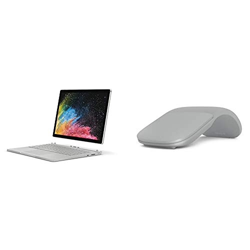 Microsoft Surface Book 2 13.5-Inch PixelSense Display Notebook (Silver) - Intel i7-8650U, 16 GB RAM, 1TB SSD, NVIDIA GeForce GTX 1050 Graphics, Windows 10 Pro) & Surface Arc Bluetooth Mouse - Platinum