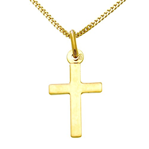Small 9ct Gold Cross Pendant Necklace With 18' Gold Chain & Jewellery...