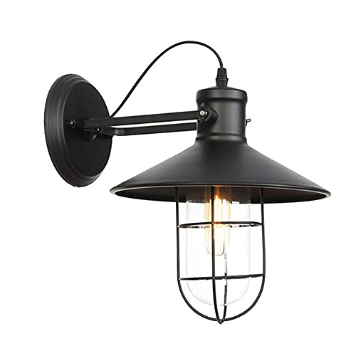 GKLHC American Country Dome Barn Light Lámpara de Pared de Metal Vintage Industrial Wall Lantern E27 Porche Wall Sconce Garage Gateway Street Light Bar Lámpara Decorativa