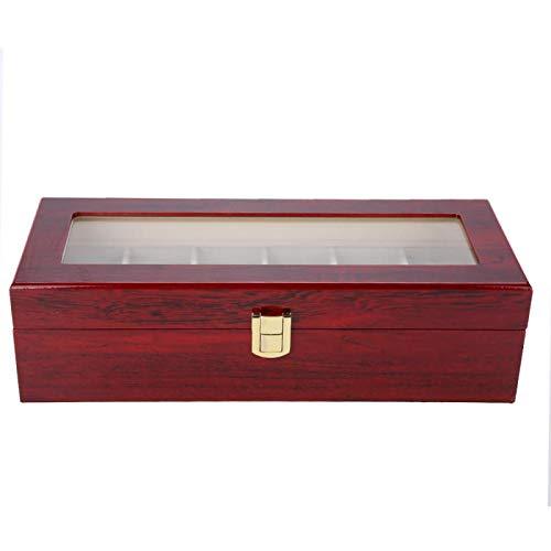 YIFengFurun, scatola per orologi con 6 scomparti, coperchio in vetro, in legno, per conservare e esporre orologi