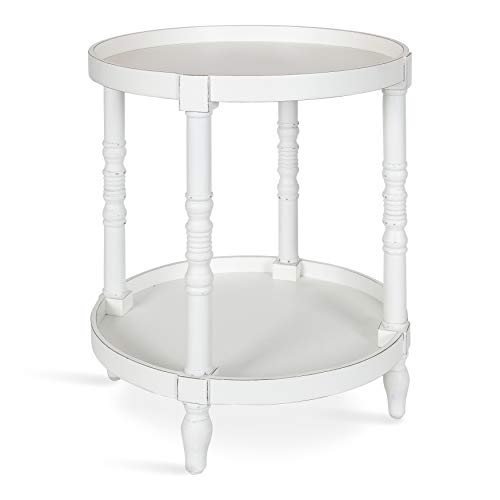 Kate and Laurel Bellport Coastal Round Wood Side Table, 20 x 20 x 24, White, Chic End Table Accent for Storage and Display