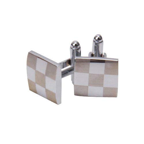 Mens Stainless Steel Business Shirt Silver Square Lattice Wedding Cufflinks Trendy Cuffs Styling Style Popular Unique Accesories Jewelry
