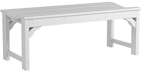 CASA BRUNO Gartenbank ohne Lehne, 122 cm breit, aus recyceltem Polywood® HDPE Kunststoff, weiss – kompromisslos wetterfest - 5