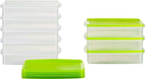 MiraHome Frischhaltedose Gefrierbehälter Stapelbehälter 1l rechteckig 23x14x5,2cm 8er Set grün Austrian Quality