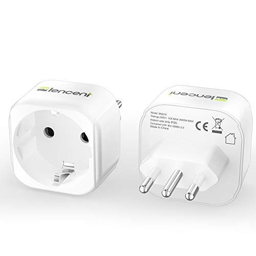 Lencent 2X Reiseadapter DE zu IT Reisestecker Adapter Typ-L Schuko Netzadapter auf Italien Chile Malediven Uruguay Syrien Steckdosenadapter