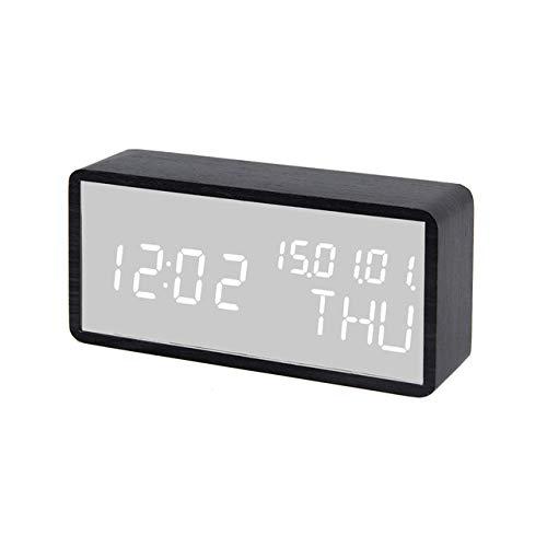 LKU Wekker LED bureau klok kalender digitale houten spiegel wekker grote timer voice control snooze