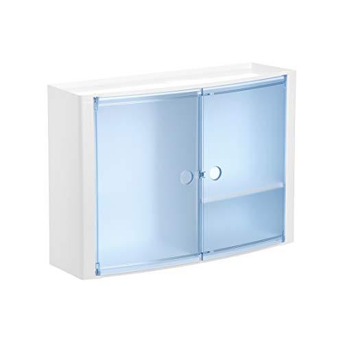 Tatay Armario plástico Horizontal, Color Blanco y 2 Puertas sin pomos en Color Azul translúcido, y Estante Interior removible.