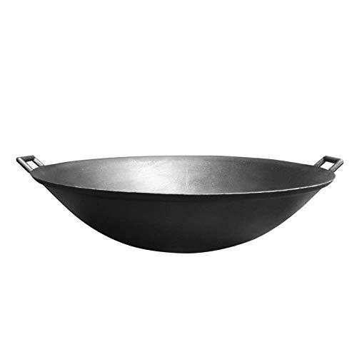 鋳鉄鍋昔ながらの二重耳鍋コーティングなし厚く尖った底非粘着家庭用大型鍋、40cm