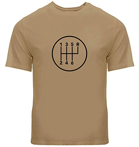 THURDY8 Design Manual Transmission 6 Speed Stick Shift Pattern Shift Unisex Mens Women Crew Neck Tee T-Shirt (6RUR) (XL, Sand)