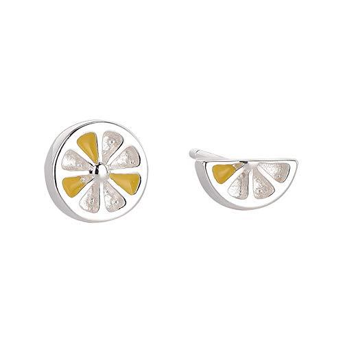 YAZILIND 925 plata de ley mini limón asimetría de la personalidad pendientes mujeres pendientes de moda joyería