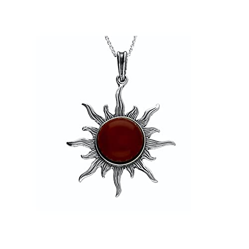 MILENA Pendant Necklace Silver and Baltic Amber - Red Cherry Sun