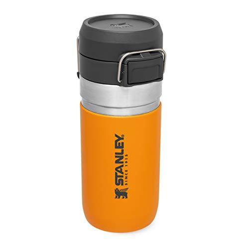 Stanley Quick Flip Water Bottle .47L / 16OZ Azafrán – Anti-Fugas - Botella de Agua de Acero Inoxidable - Tapa con cierre de pulsador - Sin BPA - Compatible con Portavasos - Apta Para Lavavajil