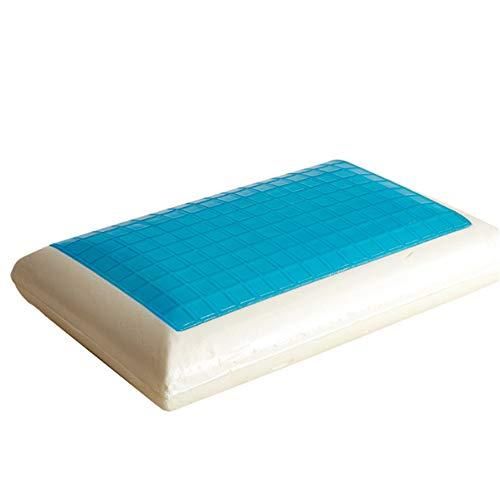 Pinellia Almohada para Dormir Boca Almohada de hidrogel en Forma de Pan Almohada Cervical Almohada de Memoria de Rebote Central, Blanco, 50 * 30 * 10 cm
