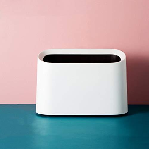AYADA Mini Tisch Mülleimer,Abfalleimer Tischmülleimer Bleistift Tasse, Bad Kosmetikeimer Tischabfalleimer für Küche Badezimmer Büro Schreibtisch WC Auto Bett Geruchsdichter Klein Plastik 1.5L (Weiß)