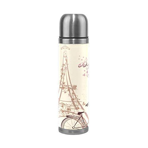 Thermos ThermoCafé Botella térmica aislada, Bicicleta de la Torre Eiffel de París,Frasco de Vacío de Acero Inoxidable 500 ml