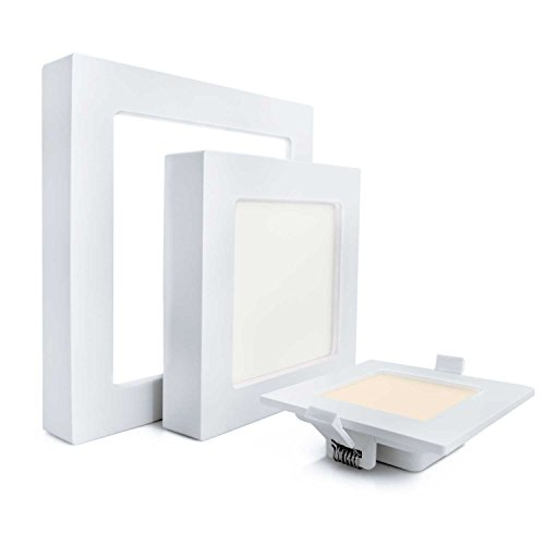 nean Profi LED Deckenleuchte mit 3 Farbtemperaturen und Trafo, 2in1 Aufputz und Unterputz, eckig (16 Watt)