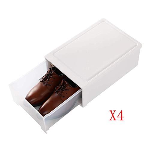 NSYNSY 4 Cajas de Almacenamiento de plástico Blanco Transparente A Prueba de Polvo Push-Pull Apilable Unisex Gabinete de Zapatos de combinación Simple (Color: Blanco, Tamaño: 37 * 25.5 * 14cm)
