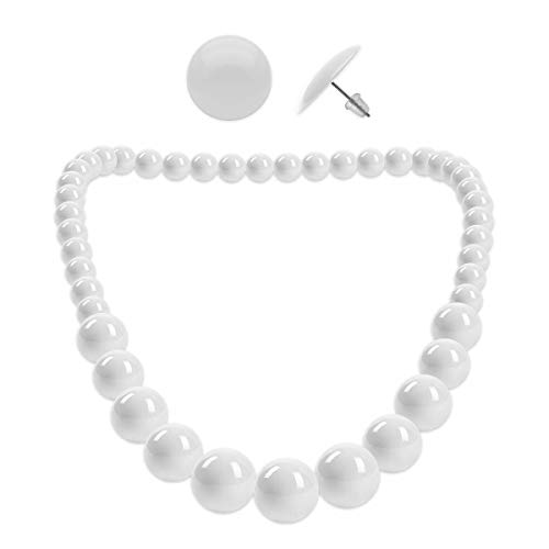 Soul-Cats® 1 Perlenkette + 1 Paar Ohrstecker rund SET, Farbe: weiß