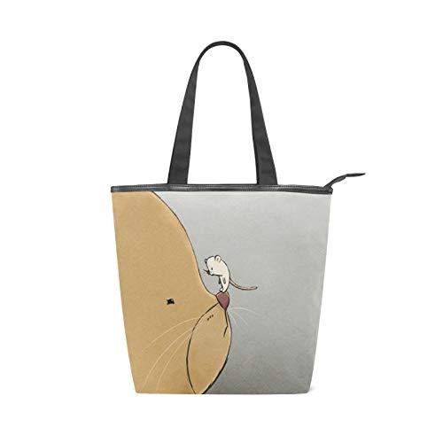 JinDoDo - Bolsa de lona con cremallera, diseño de gato y ratón, color marrón