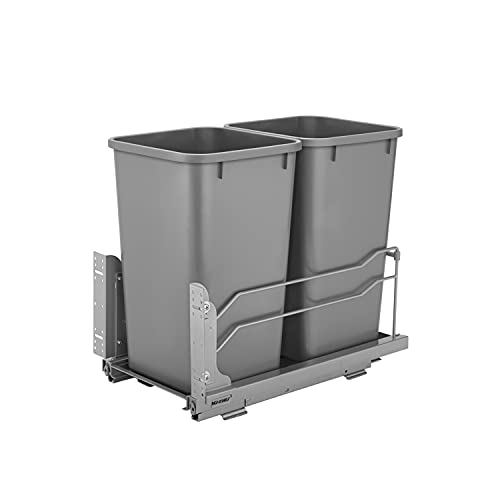 Rev-A-Shelf 53WC-1527SCDM-217 Double 27-Quart Kitchen Base Cabinet Pull Out Waste Container Kitchen Organizer Trash Can with Soft-Close Slides, Gray