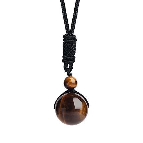iSTONE Unisex Genuine Round Gemstone Beads 20mm Tiger Eye Pendant Necklace with Adjustable Nylon Cord 24 Inch