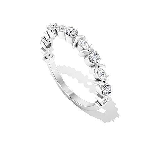Rosec Jewels - 10 K Weißgold Runder Brilliantschliff Leicht Getöntes Weiß/Top Crystal (I) Diamant