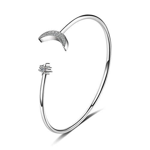 CHEMOXING Einfache 925 Sterling Silber Mosaik Zirkon Mond Armbänder Armreifen für Frauen Mädchen Schmuck Geschenk pulsira Feminina