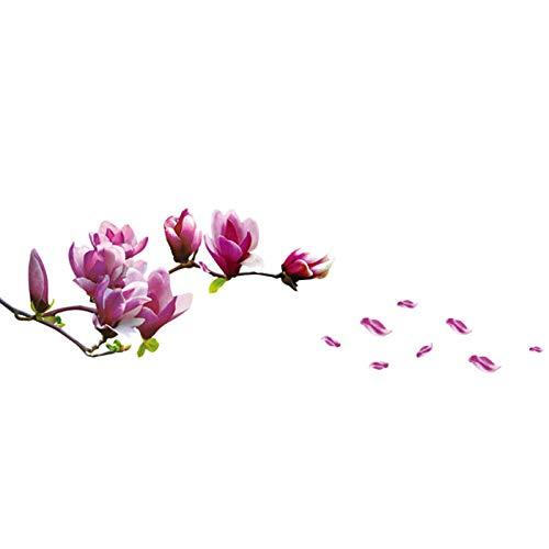 YCANK Pegatina de pared de PVC extraíble con flores de magnolia fresca