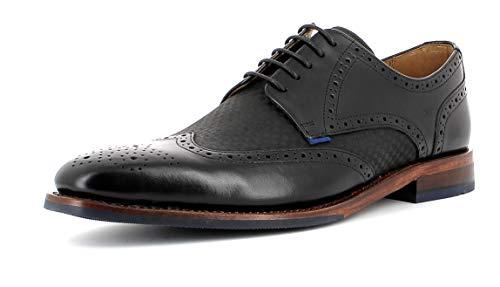 Gordon & Bros Hombre Calzado de Negocios, Milan 5661-I de Caballero Zapatos,Goodyear Welted,Full Brogue,Derby,Oficina,Checked Black,40 EU / 6 UK