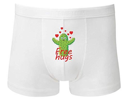 Druckerlebnis24 Boxershort - Free Hugs Kaktus Umarmung - Unterhose für Herren und Männer