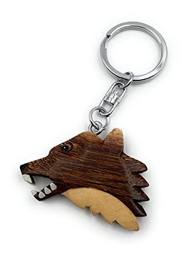 Onwomania Llavero de madera Cabeza de lobo Peligroso Animal Depredador de perros Paquete Animal...