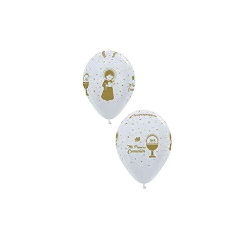 Sempertex - Bolsa de 12 globos sempertex r12 de 30 cm color satín dorado mi primera comunión