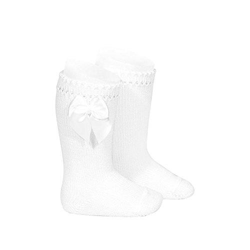 Cóndor Calcetines altos de perlé con lazo Blanco, Talla 6 (27-31)