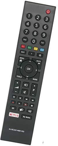 ALLIMITY RC3214801 03 Fernbedienung Ersetzen für Grundig TV with Netflix TP1187R-5 313923827833 4TS1-560506606