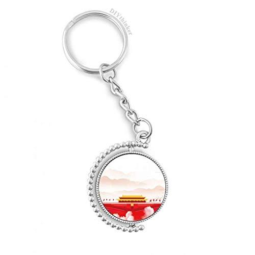 DIYthinker Rote Fahne Tiananmen Berg Nebel Drehbare Schlüsselanhänger Ringe 1.2 Zoll x 3.5 Zoll Mehrfarbig