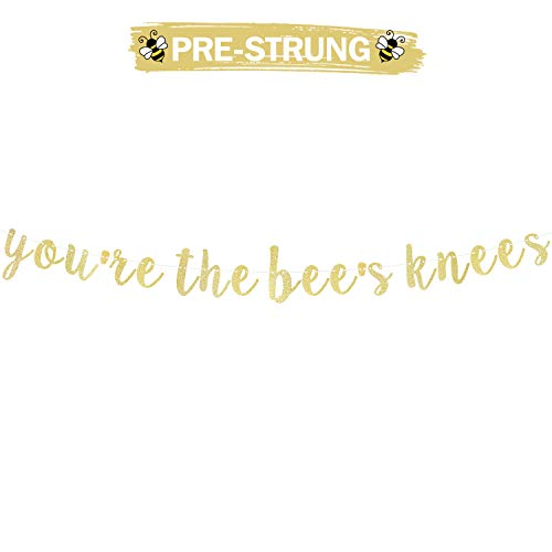 You're the Bee's Knees Gold Glitter Cursive Script Bunting Banner Congratulations Sweet Baby Shower Gender Reveal Kids Child Birthday Party Decoration Fireplace Table Wall Sign - NO DIY REQUIRED