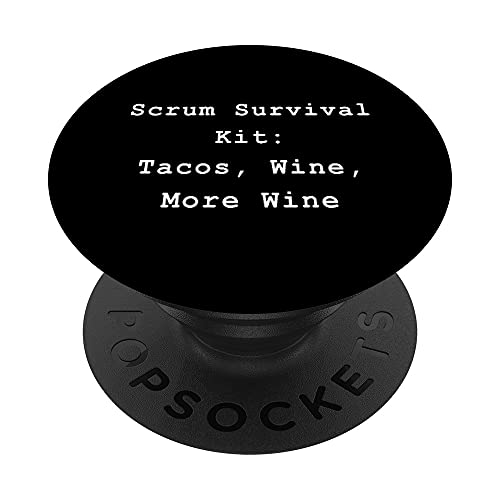 Tacos Wine Scrum Agile Project Management Funny PM Coach PopSockets PopGrip Intercambiable