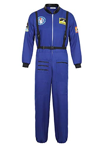 Josamogre Astronauten Kostüm Erwachsene Herren Kostüm Astronaut Weltraum Raumfahrer Halloween Cosplay Blau l