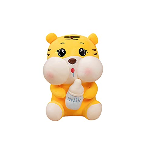 ERUYN Linda Nueva Mascota de Tigre de 2022 años con Botella de Leche, Juguete de Peluche de Tigre, Regalo Anual, Amarillo, 35/45 / 55cm Amarillo