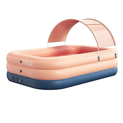 Piscina Inflable for niños y Adultos OversizeThickened Fiesta del Agua Jardín de Verano al Aire Libre del Patio Trasero Rectangular flotadores (Color : Pink, Size : 2.1m)