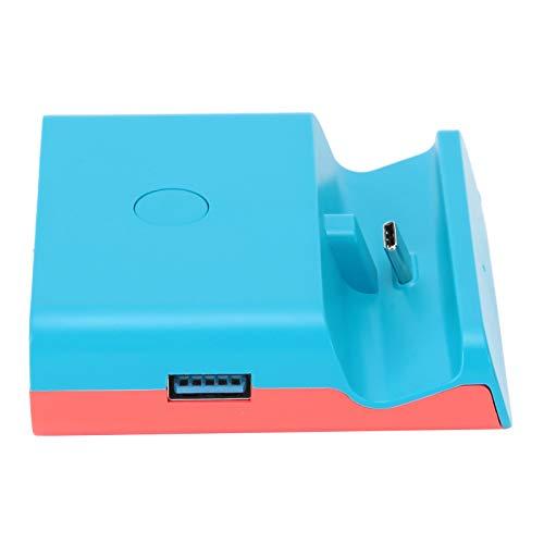 HAOX Base de Carga, Adaptador de Video, Rojo para Controladores de Juegos con Cable(Azul Rojo)